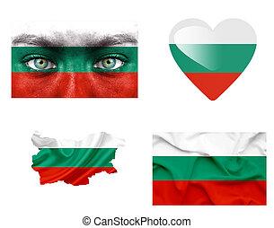 sätta, av, olika, bulgarien, flaggan
