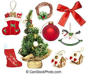 sätta, av, olika, jul ornamenter