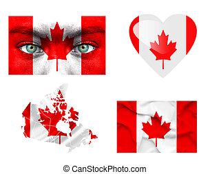 sätta, av, olika, kanada, flaggan