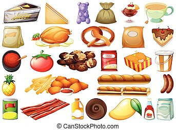 sätta, av, olika, mat