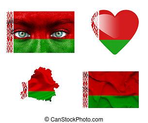 sätta, av, olika, vitryssland, flaggan
