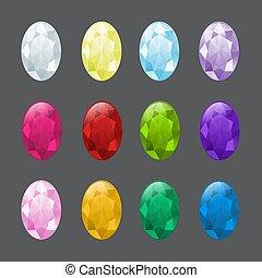 sätta, av, oval, gemstones, in, olik, colors.
