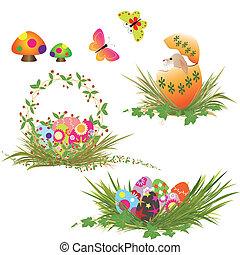 sätta, av, påsk eggar, kollektion