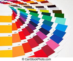 sätta, av, prov, av, olika, färger