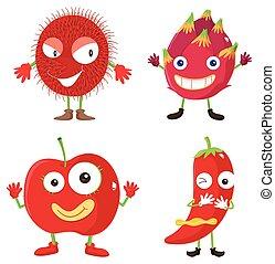 sätta, av, röd frukt, och, grönsaken