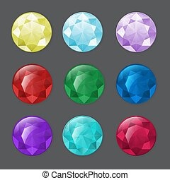 sätta, av, runda, gemstones, in, olik, färger