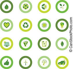sätta, av, runda, ikonen, fyllt, med, bio, eco, miljöbetingad, symboler