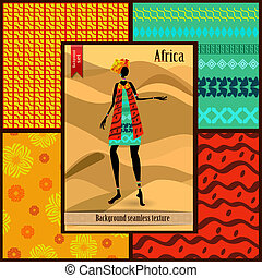 sätta, av, seamless, strukturer, med, afrikansk kvinna