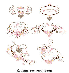 sätta, av, sex, ornamental, ram, hjärta, med, plats, för,...