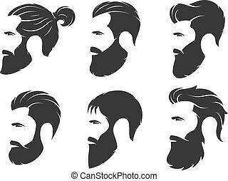 sätta, av, silhouettes, av, a, skäggig, män, hipster, style., barberaren shoppar