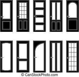 sätta, av, svart, dörr, ikonen, vektor, illustration