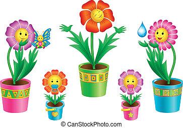 sätta, av, tecknad film, blomningen, in, krukor