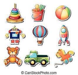 sätta, av, toys, klistermärken