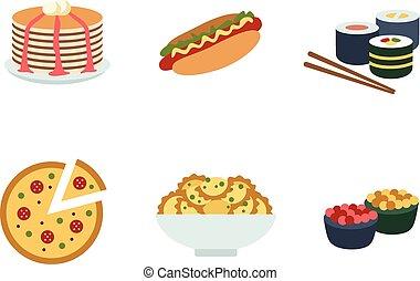 sätta, av, traditionell, mat, icons.
