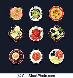 sätta, av, traditionell, mat ikon