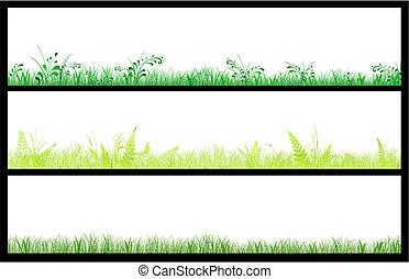 sätta, av, tre, gräs, nät, baner
