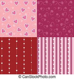 sätta, av, valentinbrev, seamless, mönster