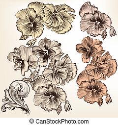 sätta, av, vektor, detaljerad, blomningen