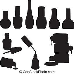 sätta, av, vektor, spika polermedel, flaskor