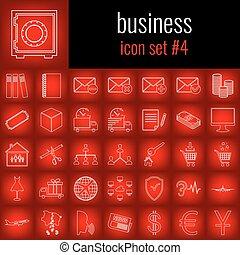sätta, backgrpund., lutning, business., 4., vita fodra, röd, ikon