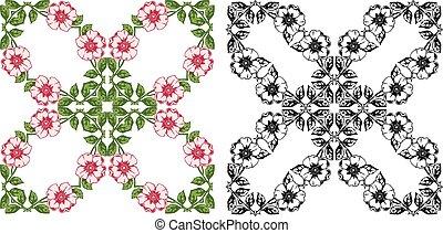 sätta, bakgrund, årgång, agremanger, blommig, transparent