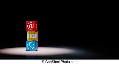 sätta, bakgrund, kontakta, kuben, oss, svart, spotlighted