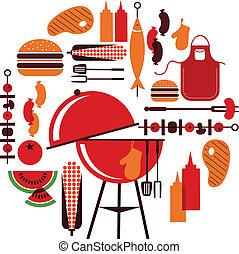 sätta, barbecue, objekt