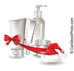 sätta, behållare, gåva, kosmetisk, jultomten hatt