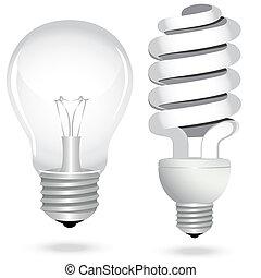 sätta, besparing, elektricitet, lätt, energi, lampa, lök