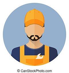 sätta, bil, icons., reparera, avatar., a, man., bil, repair., ikon, lägenhet, stil, circle., block, vector.