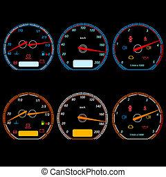 sätta, bil, illustration, vektor, hastighetsmätare, tävlings-, design.