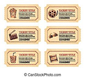 sätta, bio, film, tickets., gammal, årgång, lottsedlar, etiketter, med, popcorn, mat och dryck, och, annat, ikonen