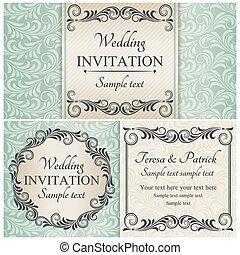 sätta, blå, barock, bröllop inbjudan