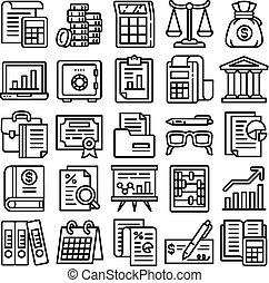 sätta, bokföring, stil, skissera, ikon