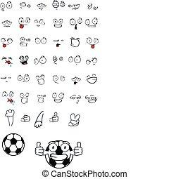 sätta, boll, fotboll, tecknad film