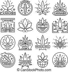 sätta, cannabis, stil, skissera, logo