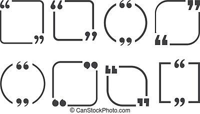 sätta, citera, illustration, bakgrund., vektor, inramar, vit