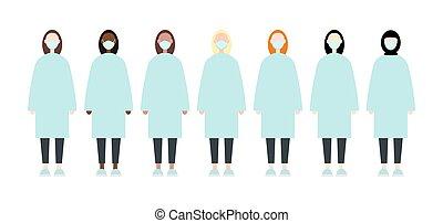 sätta, coronavirus., lägenhet, doktorn, tröttsam, stil, skura, clothes., covid-19, clothing., sköta, measures., skyddande, kvinnor, förebyggande, image., masks., epidemi, vektor, lopp, pandemi, under, mångfaldig