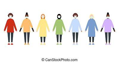 sätta, coronavirus., lägenhet, doktorn, tröttsam, stil, skura, clothes., covid-19, sköta, measures., epidemic., kvinnor, förebyggande, kläder, image., masks., vektor, lopp, pandemi, regnbåge, under, mångfaldig
