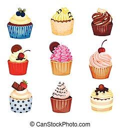 sätta, cupcakes., illustration, bakgrund., vektor, vit