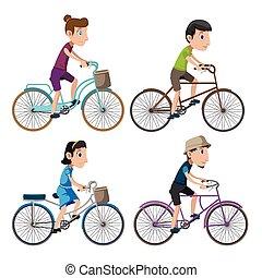 sätta, cykel, folk, isolera, kollektion, vektor