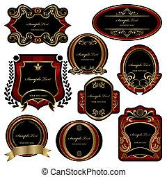sätta, dekoration, abstrakt, etiketter