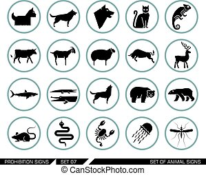 sätta, djur, icons.