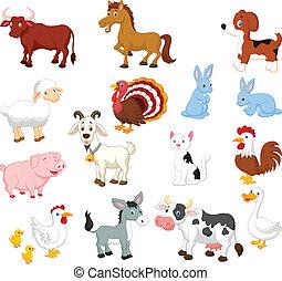 sätta, djur, kollektion, lantgård