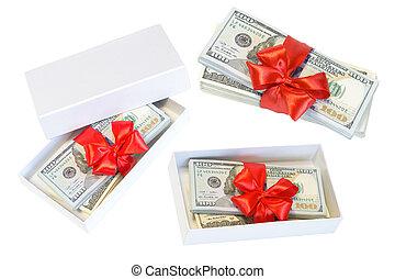 sätta, dollar, isolerat, bog, bakgrund, vit röd