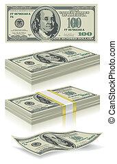 sätta, dollar, sedlar