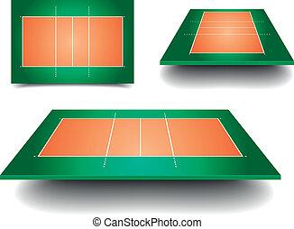 sätta, domstol, volleyboll