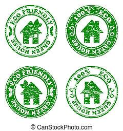 sätta, eco, hus, illustration, frimärken, vektor, grön, vänskapsmatch