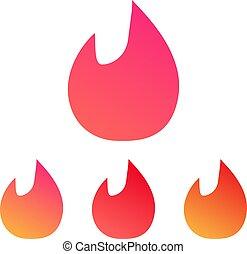sätta, eld, illustration, vektor, låga, design.