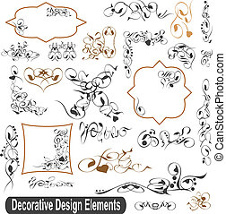sätta, elementara, calligraphic, vektor, design, inramar, kanter